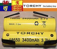 With tabs 2x Torchy (Panasonic Inside) 3400mAh 18650 3.7v Li-ion batteries