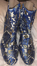 Tory Burch Blue Gold Winter White Metallic Embroidered Zip Ankle Boot 6.5 NWT