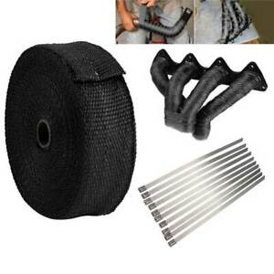 10 Meters Exhaust Manifold Heat Wrap Tape Bandage Roll Dowpipe with 10 Ties