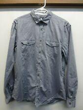 John Varvatos Blue Cotton Linen Chambray Long Sleeved Button Front Shirt Size M