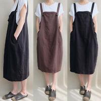 Oversize Femme Sans Manche Coton Loisir Casual en vrac Ample Robe Dresse Midi