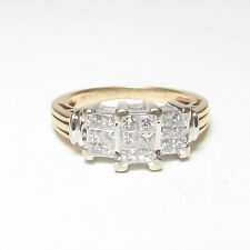 Estate 14K Yellow And White Gold 18 Princess Cut Diamond Cluster Ring 0.60 Cts