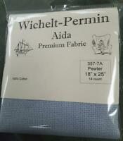 "Wichelt Imports PREMIUM Cross Stitch Fabric AIDA 14 count 18"" X 25"" PEWTER Gray"