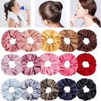 Women Satin Hair Scrunchies Elastic Hair Band Ponytail Tie Rubber Band Hair Ring