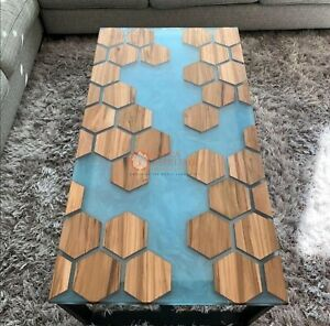 Epoxy Resin Blue Acacia Wooden Modern Hexagonal Honey Cube Rasturent Table Deco