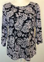Croft & Barrow Tunic Top Size M Navy Blue Floral Boat Neck Shirt 3/4 Sleeve