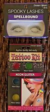 Fright-Night Neon Glitter Tattoo Kit PLUS Spellbound False Eye Lashes/Halloween