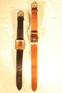 2 Antique Manual Wind 14kt Rolled Gold Swiss Bulova Wristwatches W/Bands