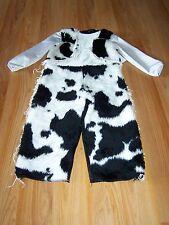 Size 2-4 Western Cowboy Halloween Costume Cow Print Faux Fur Fringe Black White