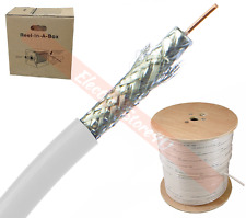 1000ft RG6 Quad Shield Coaxial Cable White Wire TV Antenna Satellite 18AWG Spool