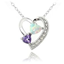 925 Silver Diamond Accent Amethyst & Created White Opal Triple Heart Necklace