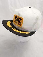 CATERPILLAR vintage white logo mesh trucker snapback hat DEADSTOCK NEW
