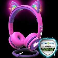 Kids Wired Cat Ears Headphone Headsets Girl Earphone On Ear Pink Volume Control