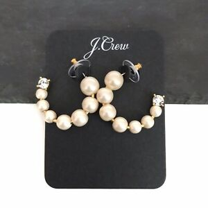 J. Crew Faux Pearl Crystal Rhinestone Hoop Earrings BRAND NEW