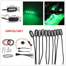 10pcs 4-LED Light Kit Green Color Car Interior Bar Strip Decorative Lights 12V