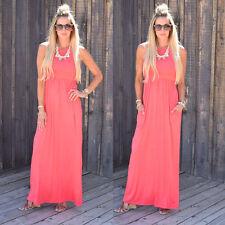 Womens Sleeveless Summer Evening Prom Party Boho Beach Loose Long Maxi Dress Black XL