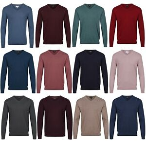 Mens V Neck Jumper NEXT™ New Cotton Rich Top Fine Knit Sweater Knitted Pullover