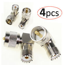 4 pcs Adapter 90° UHF plug male PL259 to SO239 female connector right angle M/F