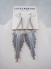 Luck Brand silver tone dangle drop earrings, NWT
