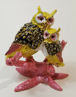 Owl Mother and Baby Enamel Bejeweled Crystal Jewelry Trinket Box