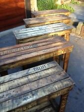 1 x Work bench hall table rustic wooden old vintage industrial display timber