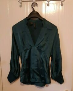 Silk fitted top teal 3/4 sleeve side zip unlined MNG Suit UK Small