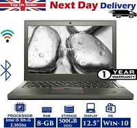 "Lenovo ThinkPad x250 12.5"" Laptop Intel i5 5th-Gn 2.3Ghz 8GB RAM 500GB HDD Win10"