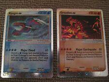 Pokemon Groudon EX & Kyogre EX holo rare PROMO cards - 2 cards - 001 & 002 foil