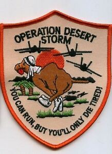 DESERT STORM GULF WAR TROPHY '90 iron-on PATCH: You can run but You'll Die tired