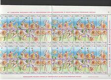 FOGLIO  IPZS 44° CAMPAGNA TUBERCOLOSI 1981 N. 40 FRANCOBOLLI DA LIRE 100 FOGLIO