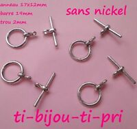 LOT de 20 sets FERMOIRS TOGGLE ARGENTE 17x12mm (barre 19mm) SANS NICKEL perles