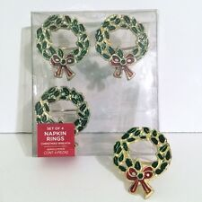 Christmas Wreath Napkin Rings Set 4 Brass Holiday Winter Gold Green Red Ena