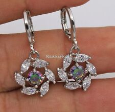 18K White Gold Filled - MYSTICAL Topaz Hollow Windmill Women Cocktail Earrings