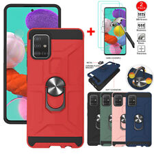 For Samsung Galaxy A51 A71 4G Shockproof Ring Stand Case With HD Tempered Glass
