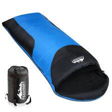 Camping Hiking Outdoor Thermal Winter Envelope Sleeping Bag Single Blue Blac