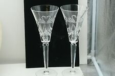 """Swan Heart Crystal Glass Toasting Flutes - Waterford Wedding Collection 9 1/4"""""""