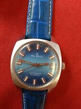 VINTAGE HELBROS PUW1561 AUTOMATIC WRIST WATCH SWISS MADE 17 JEWELS RUNS & STOPS