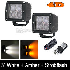 4D 2 LED Work Light Amber/White Strobe Flash Cube 3X3 INCH Pods with Harness Kit