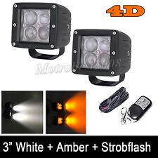 """2x Amber/White/Strobe 3""""inch 4D CREE LED Work Light Bar Spot Fog Lamp & Harness"""