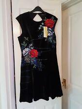 Karen Millen Velvet Embroidered Dress Size 14