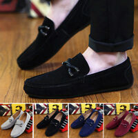 Fashion Men's Soft  Driving Loafers Suede Leather Moccasins Slip On Penny Shoes