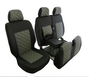 PEUGEOT BOXER CITROEN RELAY FIAT DUCATO 02-06 RHD GREY E-LEATHER Seat Covers 2+1