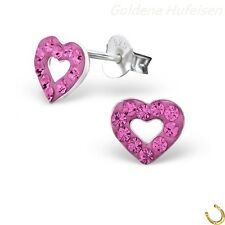 Pink Kristall Herz Ohrstecker 925 Sterling Silber Mädchen Kinder Geschenkidee