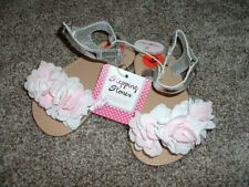 Stepping Stones Baby Girl Silver Pink White Flower Sandals Size 6 18-24 mos NWT