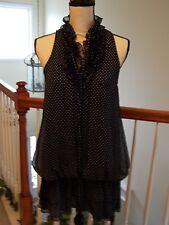 Mela Loves London Dress S Blue / White Polka Dot Sleeveless V Neck Lined Ruffles