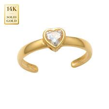 Zirconia Toe Ring 14mm Inner Diameter 14K Real Solid Gold Single Heart Cubic