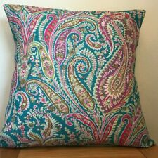Liberty **FELIX RAISON** Linen/Cotton Cushion Cover in Jade/Pink ~  40cm