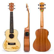Kmise 23 Inch Soild Spruce Electric Acoustic Concert Ukulele Hawaii Guitar