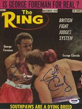 George Foreman & Chuvalo Signed 1970 Ring Magazine Cover PSA/DNA COA Autograph