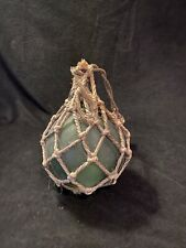 "Vintage Japanese Aqua Glass Fishing Float Jute Rope 18"" Diameter Nautical Decor"